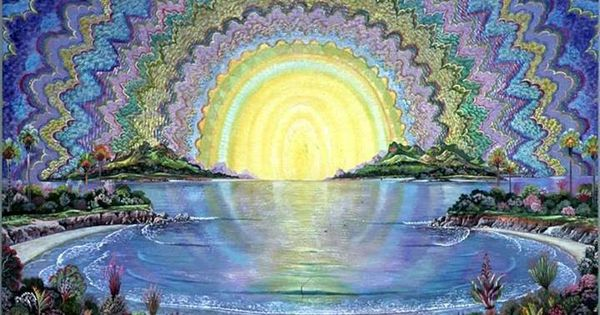 Trippy Sky Sun And Water Fantasy Art Psychedelic