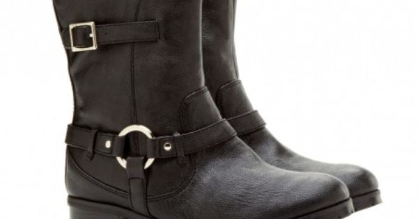 "Black Motorcycle Boots with 1"" Heel 