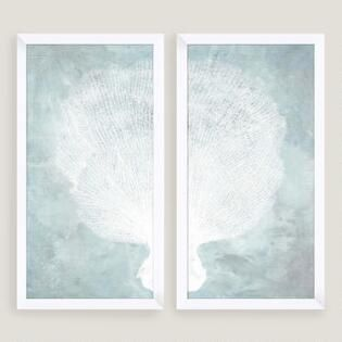 Water Stained Coral Wall Art 2 Piece Coral Wall Art Dining Room Wall Art Coastal Decorating Living Room