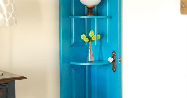 Door Shelving -Instead of tossing out the old door from a recent