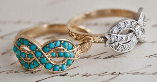 Infinity turquoise and diamonds rings
