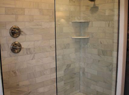 doorless glass showerdoorless glass shower marble subway tile rain head  shower head