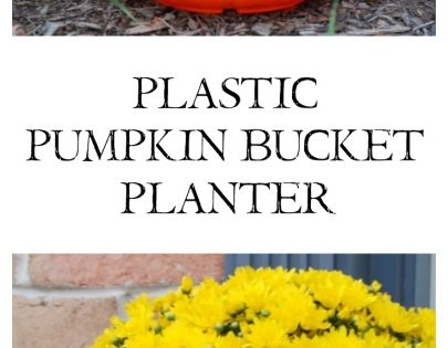 Turn a $1 plastic pumpkin bucket into an awesome stone-look planter with just some specialty spray paint! 31DaysofHalloween