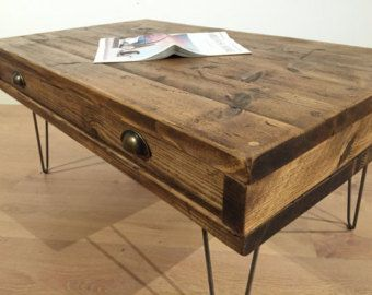 Reclaimed Pine Rustic Box Coffee Table With Drawer Solid Wood Metal Hairpin Legs Free Uk Delivery Coffee Table With Drawers Coffee Table Rustic Box