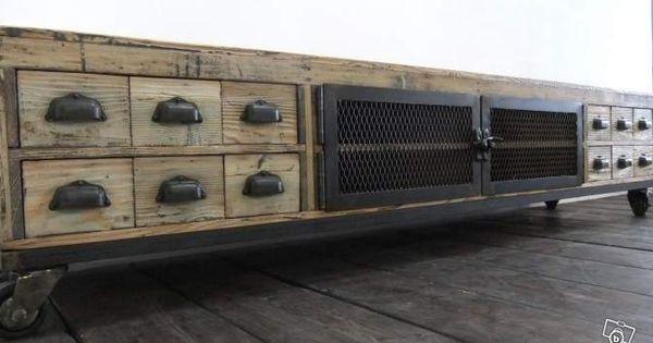Meuble tv industriel bois et m tal ameublement rh ne - Meuble tv industriel bois metal ...