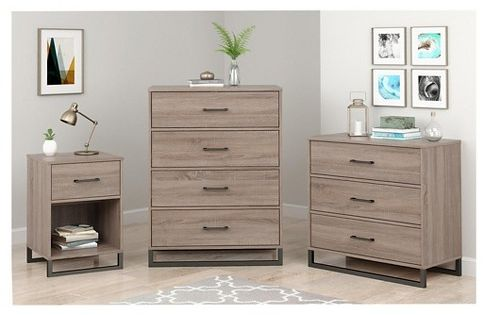 Mixed Material Nightstand Gray Room Essentials Brown Rooms Room 4 Drawer Dresser