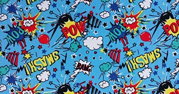 BOYS White Blue Cartoon Comic Superhero POW NEW POLYCOTTON Childrens Fabric