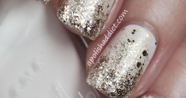 New Year's Nails Nail Polish Nails Nail art manicure white sliver
