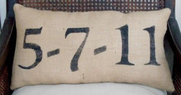 burlap pillow... So cute and such a fun wedding gift idea