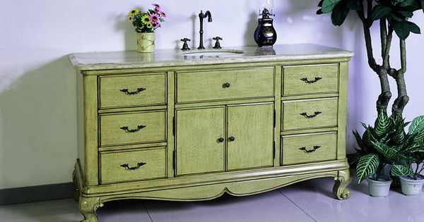 French Country Bathroom Vanities: Blaire (single) 60-Inch Traditional French Country Bath