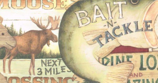 Signs Hunting Fishing Bear Moose Country Wine Edges Wallpaper Wall Border Wall Wallpaper Wall Borders Wallpaper