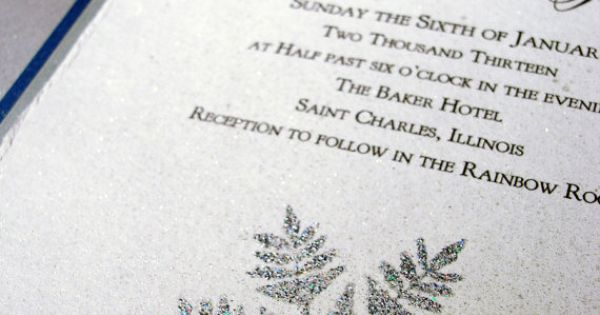 Winter Wedding Invitations silver snowflake hand stamped and embossed. $4.00, via Etsy.