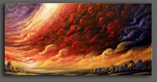 Art abstract original painting red cloud texture