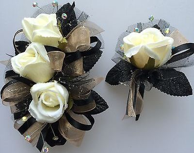 Black Amp Gold Corsage Amp Boutonniere Set Wedding Or Prom