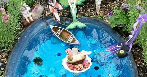A mermaid pool and garden in miniature aaa fairy garden for Garden mini pool
