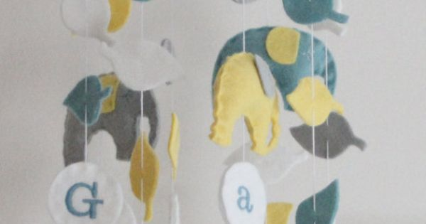 Elephant Baby Crib Mobile- U Pick Colors- Add Baby's Name For Free-