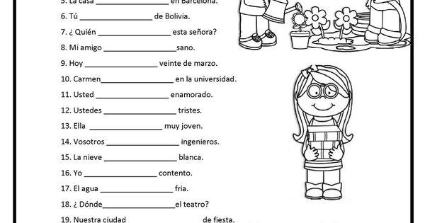 ser o estar verbos ser y estar pinterest worksheets spanish worksheets and spanish. Black Bedroom Furniture Sets. Home Design Ideas