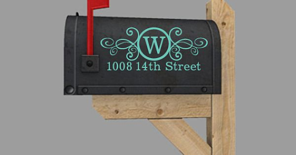 Mailbox decal vinyl lettering with number and street for Window cling letters and numbers
