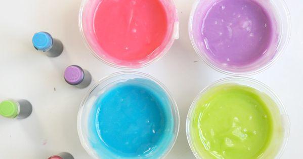 Kids Activity: Edible Homemade Finger Paint: Flour Sugar Salt Food coloring Plastic