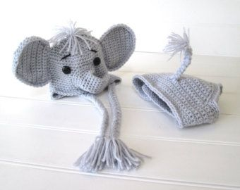 Amazon.com: Crochet Baby Elephant Hat and Diaper Cover Set - Baby ... | 270x340