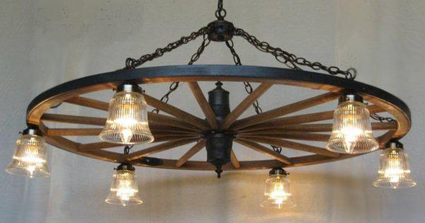 Rustic Industrial Modern Mason Jar Light Fixture Porch By: Wagon Wheel Indoor/Outdoor Chandelier With Glass Lights