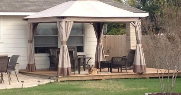Sunjoy Rosewood 12 Ft X 12 Ft Beige Square Soft Top Gazebo With Nettings And Curtains L Gz224pal 1 The Home Depot Backyard Decor Gazebo Backyard