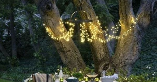 outside dining: I like the idea of hanging fairy lights from the