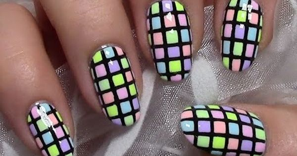 bunt karierte pastell n gel sommer nageldesign colorful summer nail n gel pinterest. Black Bedroom Furniture Sets. Home Design Ideas