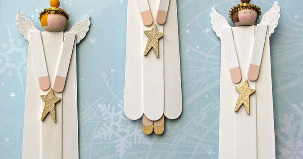 angel ornaments made from wood craft sticks, beads, and other pre-cut wooden