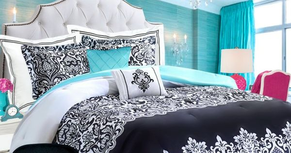 Teen Girls Bedding Damask Comforter SUPER SET Black And White Aqua Teal Twin / Twin XL TXL