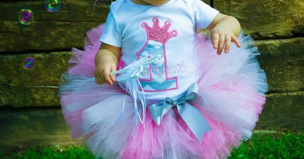 First Birthday Princess Crown Chevron tutu by LuresandLaceChildren, $41.50