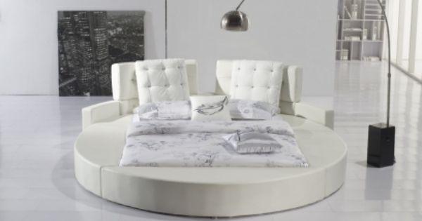 Lit Rond Baltimore En Cuir Blanc Chez Mobiliernitro Com Design Bedroom Design Lighting Design