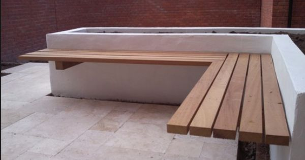 Floating shelf bench on a rendered raised bed | Oneida ...