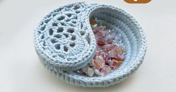 "CROCHET PATTERN - 4"" yin yang jewelry dish, Crochet basket ..."