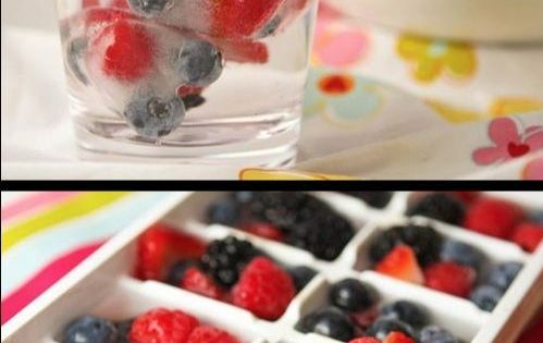 Fruit ice cubes. I think this would be an awesome idea if