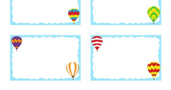 Balloon Tag: Free Printable Hot Air Balloon Name Tags. The Template Can