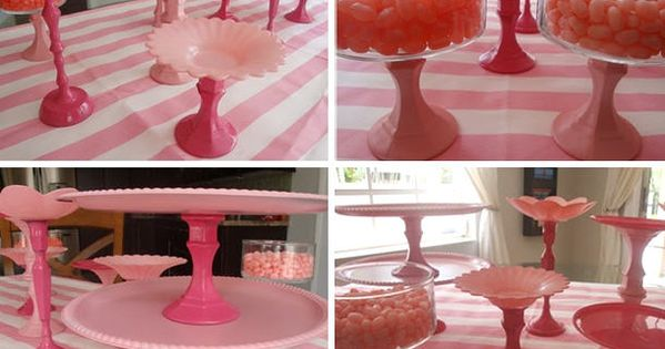 plastic dollar store trays and candle holders spray painted and glues together,