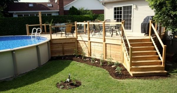 Deck de piscine hors terre photo 2 patio pinterest for Plan pour deck de piscine