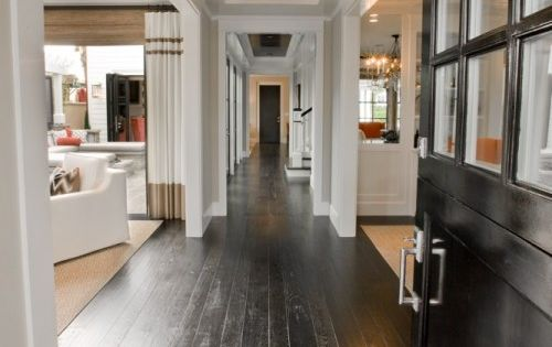 Hallway, love black ceiling & lighting fixtures