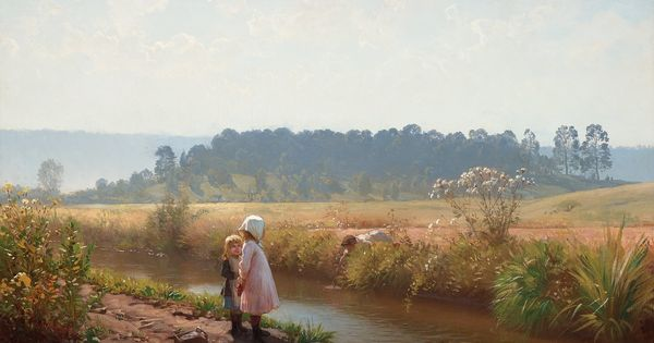 Barn Lekande Vid An Children Playing By The Stream By August Malmstrom
