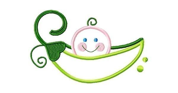 Pea pod baby applique design machine embroidery