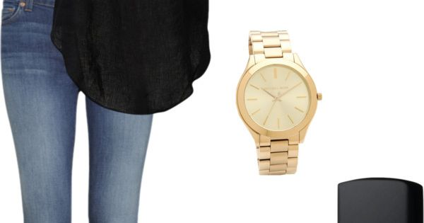 Simple summer outfit. Medium wash jeans. black top( like the one with the gold chain from cr) and that gold watch would be a michael kors watch