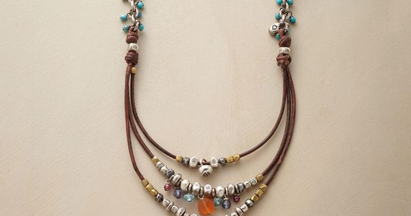 COMPENDIUM NECKLACE -- Our handcrafted leather, sterling bead and gemstone necklace is