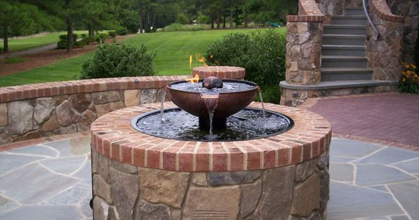 This fire pit water fountain combination is just one for Fire pit water feature combo