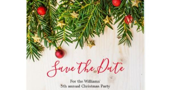 Holiday Christmas Save The Date Party Rustic Wood Announcement Postcard Zazzle Com Christmas Save The Date Holiday Party Invitations Holiday Christmas Party