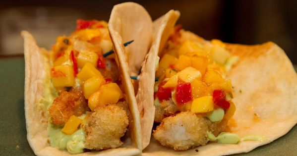 Panko crusted flounder tacos with mango salsa and avocado for Flounder fish tacos