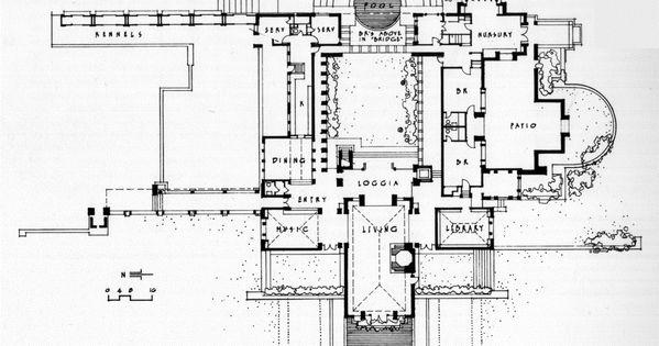 Plan Aline Barnsdall Hollyhock House 1921 East Hollywood California Frank Lloyd Wright