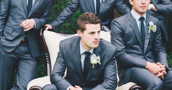 dark grey groomsmen suits