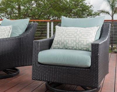 Three Posts Northridge Swivel Patio Chair With Sunbrella Cushions Patio Chairs Sunbrella Cushions Wicker Patio Chairs