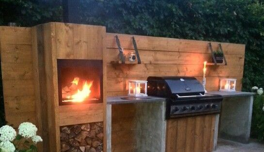 natural wood and stone backyard pinterest barbecue et ext rieur
